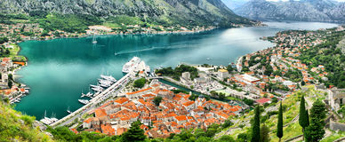 Panoramic view of Kotor bay Royalty Free Stock Images