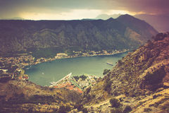 Panoramic view of Kotor bay. Lovcen Mountains in Montenegro. royalty free stock images