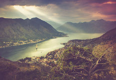 Panoramic view of Kotor bay. Lovcen Mountains in Montenegro. Royalty Free Stock Photos