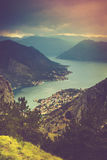 Panoramic view of Kotor bay. Lovcen Mountains in Montenegro. Stock Photos