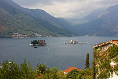 Panoramic view of Kotor Bay with the monastery Royalty Free Stock Image