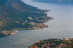Panoramic view of Kotor bay at summertime. Montenegro. Royalty Free Stock Photography