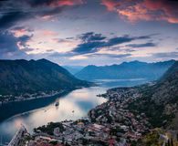 Panoramic view of Kotor bay at sunset. Dramatic overcast sky. Stock Photography