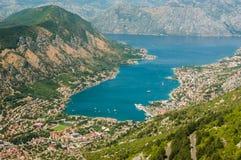 Panoramic view on Kotor, Montenegro Stock Images