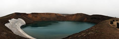 Panoramic view of Krafla Volcano on Iceland Royalty Free Stock Photos