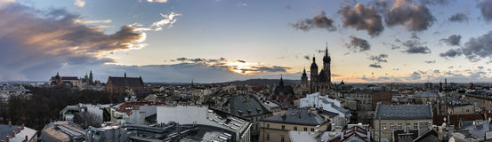Panoramic view of Krakow city Stock Images