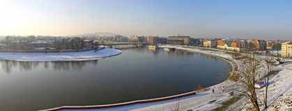 Panoramic view of Krakow city and Vistula river Stock Photography