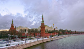 Panoramic view of the Kremlin Embankment of Moskva River, Kremlin Walls and Towers in Moscow. Moscow skyline - panoramic view of the Kremlin Embankment of Moskva stock image