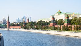 Panoramic view of Kremlin Embankment in Moscow royalty free stock image