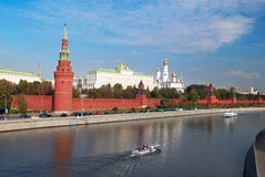 Panoramic view of Kremlin in Moscow. Bright panoramic view of Kremlin in Moscow Royalty Free Stock Photography