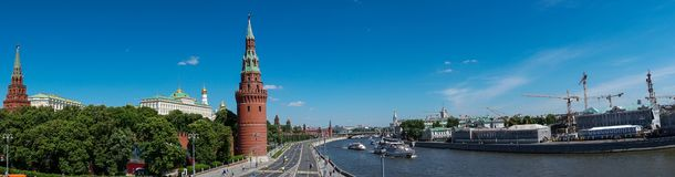 Panoramic view of the kremlin palace from the bridge stock photos