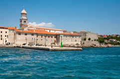 Panoramic view of Krk old town port from the sea- Croatia Royalty Free Stock Photography