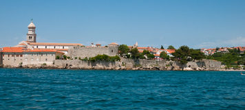 Panoramic view of Krk old town from the sea -Croatia Stock Image