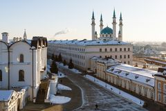 Panoramic view of the Kul-Sharif and the Annunciation Cathedral, Kazan Royalty Free Stock Photography