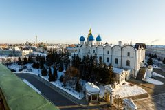 Panoramic view of the Kul-Sharif and the Annunciation Cathedral, Kazan Royalty Free Stock Image