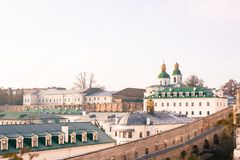 Panoramic view of Kyiv Pechersk Lavra at early spring, Ukraine stock images