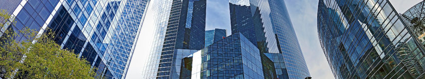 Panoramic view of the La Defense, commercial and business center Stock Photos