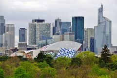 Panoramic view of la Defense outside of Paris Royalty Free Stock Photo
