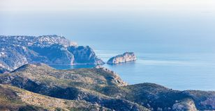 Panoramic view of La Nao cape in Javea, Spain. View from Cumbre del Sol Mountain stock photo