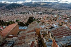 Panoramic view of La Paz, Bolivia stock photography