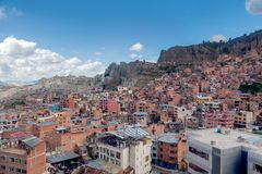 Panoramic view of La Paz slums, Bolivia stock photo