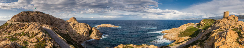 Panoramic view from la Pietra at Ile Rousse in Corsica Royalty Free Stock Images