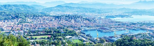 Panoramic view of La Spezia. Gulf and city port on a beautiful s. Unny day royalty free stock images