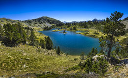 Panoramic view of Lac de Bastan at Saint Lary Soulan Stock Images