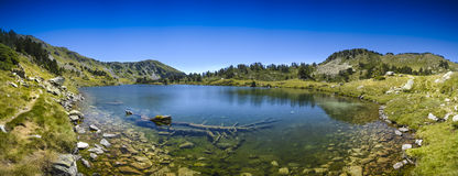 Panoramic view of Lac de Bastan at Saint Lary Soulan Royalty Free Stock Photography