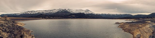 Panoramic view of Lac de Codole in Balagne region of Corsica Royalty Free Stock Photo