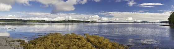 Panoramic view of Ladysmith shoreline in Vancouver Island, Canad Royalty Free Stock Photo