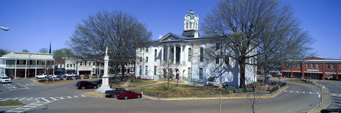 Panoramic view of Lafayette County Court House in center of historic old southern town and storefronts of Oxford, MS Royalty Free Stock Images