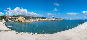 Panoramic view of the Laganas harbour. On Zakynthos island, Greece stock images