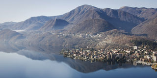 Panoramic view of lago d'orta Stock Photo