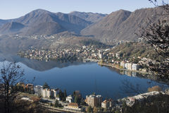 Panoramic view of lago d'orta Royalty Free Stock Photo