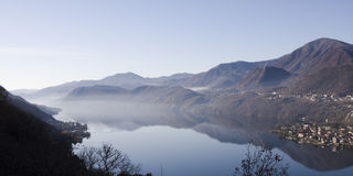 Panoramic view of lago d'orta Stock Image