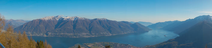 Panoramic view of Lago Maggiore from Cardada ,Locarno Stock Photo