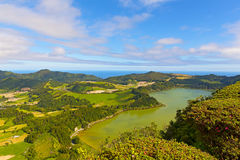 Panoramic view of Lagoa das Furnas, a lake in volcanic crater near Furnas in Azores, Portugal. royalty free stock image