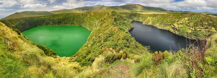 Panoramic view of Lagoa Negra and Lagoa Comprida on the Azores island of Flores stock photography