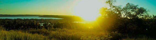 Panoramic view of the lagoon stock photo