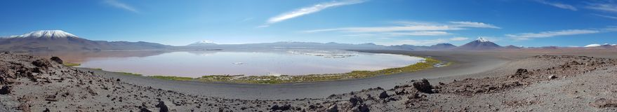 Panoramic view of the Laguna Colorada a coloured shallow salt lake in the southwest of the altiplano of Bolivia. Landscape of the Andean plateau of Bolivia with stock photo