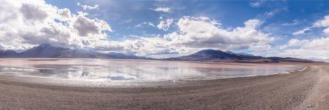 Panoramic view of Laguna Colorada Red Lagoon in Bolivean altiplano - Potosi Department, Bolivia Stock Photo