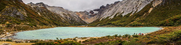 Panoramic View on the Laguna Esmeralda, Patagonia, Tierra del Fuego, Argentina. The Hike to Laguna Esmeralda, a Glacial lake in Ushuaia, Tierra del Fuego royalty free stock photography
