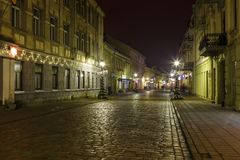 Panoramic view of Laisves aleja, main pedestrian street in Kaunas old town. royalty free stock photography