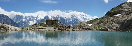 Panoramic view on lake in Alps Royalty Free Stock Photo