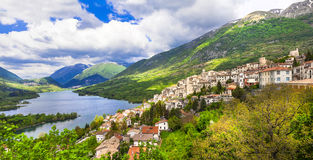 Panoramic view of lake of Barrea Stock Images