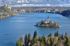 Panoramic view of lake Bled, Slovenia. Panoramic view of Julian Alps and lake Bled with the small island; Slovenia, Europe Royalty Free Stock Photo