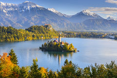 Panoramic view of Lake Bled, Slovenia. Panoramic view of Lake Bled from Mt. Osojnica, Slovenia Royalty Free Stock Image