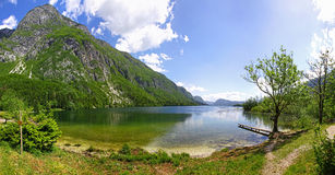 Panoramic view of Lake Bohinj, Slovenia Stock Photo