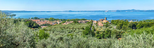 Panoramic view of Lake Bolsena, province of Viterbo, Lazio, Italy Royalty Free Stock Photos